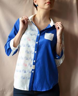 Рубашка в стиле colour block