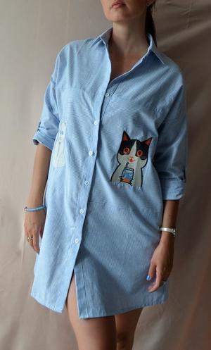 Платье-рубашка с котами